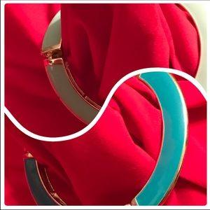 Reversible Teal Metal Stretchable Bracelet